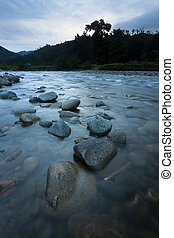 River on a gloomy weather in Borneo