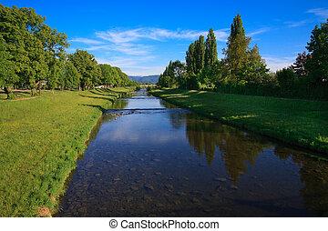 River on blue sky