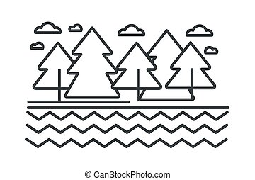 River or lake and trees, landscape and wild forest outline sketch