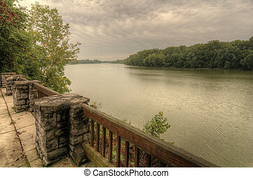 The scenic overlook of the Maumee river at Bend View park in Waterville Ohio.