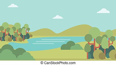 river., paesaggio, colline, fondo