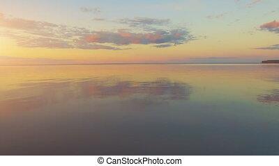 River panorama. 4k 30fps - Aerial Drone Flight Footage:...