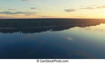River panorama. 4k 30fps - Aerial Drone Flight Footage: Slow...