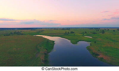 River panorama. 4k 30fps - Aerial View: Slow Flight over the...