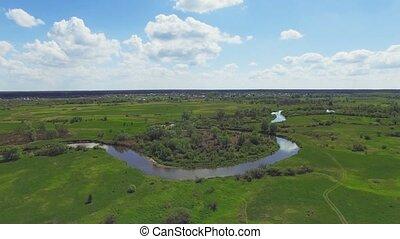 River panorama. 4k Aerial view. 30fps