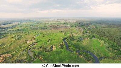 River panorama. 4k Aerial view.