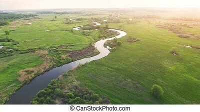 River panorama. 4k Aerial view.