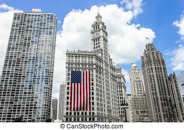 Chicago, Illinois - River Plaza, Wrigley Building with large...