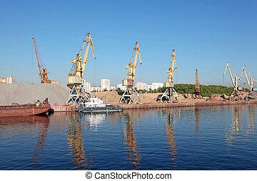 river port of construction sand