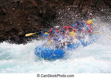 a raft blasting through a wave