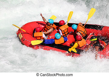 White water rafting on the rapids of river Yosino on August 11, 2013 in Koboke Canyon, Japan