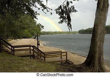 River Rainbow - A rainbow over the Suwannee River.