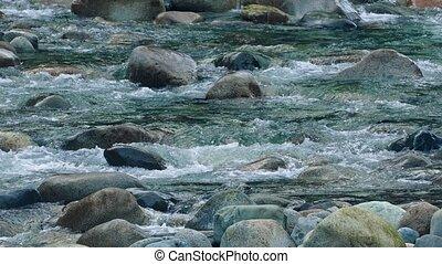 River Rapids Over Colorful Rocks