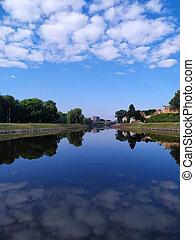 River reflexion sky landscape summer