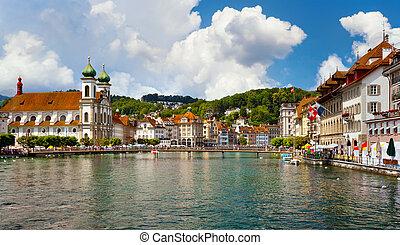 Lucerne, Switzerland - River Reuss and Jesuit church,...
