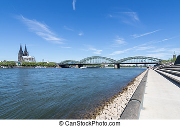 Rhine - river Rhine in Cologne, Germany