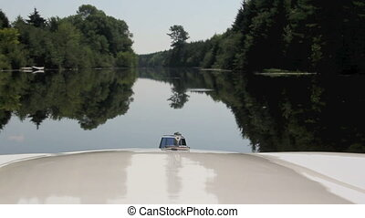 river ride view on a motor boat at St-Gabriel-de-Brandon,...