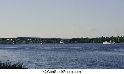 River. River with water transport. Dnepr River. Ukraine....