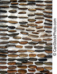 River rock stone wall texture background