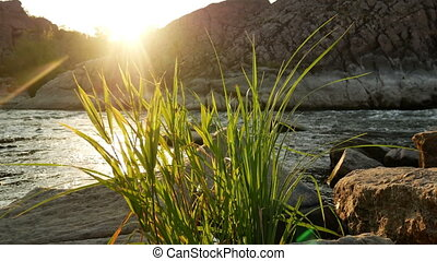 River rock sunset water
