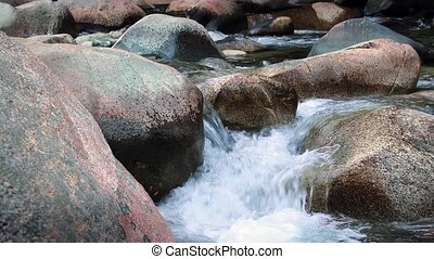 River Rocks - Mountain river flowing over large rocks