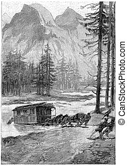 River Roques once crossing, vintage engraving. - River ...