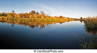 River Ros autumn panorama, Ukraine