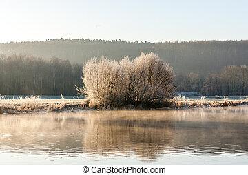 River Ruhr at sunrise, Schwerte Geisecke, Germany