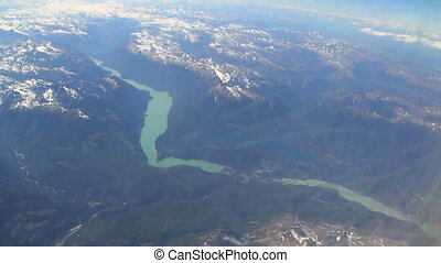 River Runs through it - Aerial view of Canadian Rockies from...
