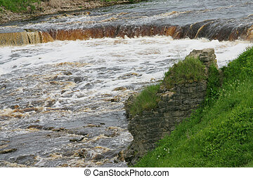 River rush with waterfall