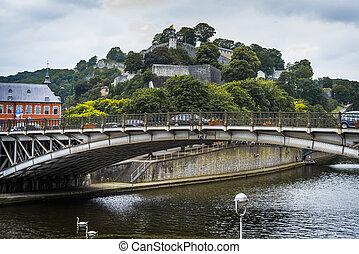 River Sambre through Namur, Belgium - River Sambre as it ...