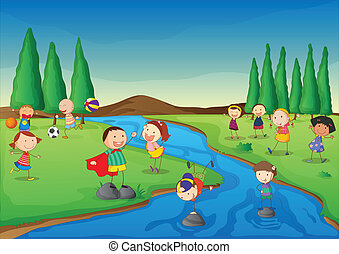Illustration of a river scene