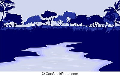 River scenery with forest silhouette