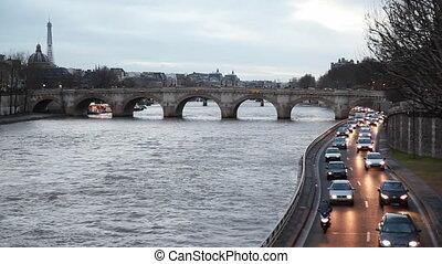 River Seine, bridge on left see Eiffel Tower, right move...