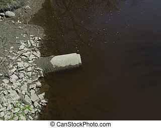 River sewer pipe - Concrete Sewer pipe in a stream
