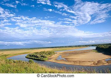 River, sky, sand