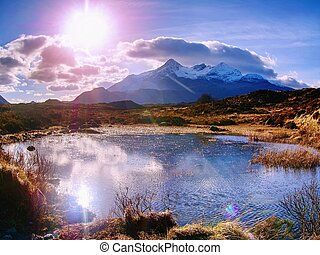 River Sligachan and the mountains , clouds gather. Sgurr nan Gillean, Cuillin Mountains, Isle of Skye