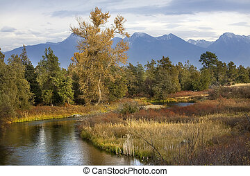 River Snow Mountains Fall Colors National Bison Range Charlo Montana