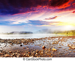 river - Beautiful view of sinuous river in summer. Dramatic...