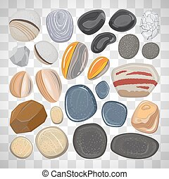 River stones on transparent background