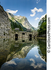 Summer landscape with mountains and dam on river Salza - Schoeggelwald, Styria, Austria.