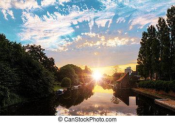 River sunrise Amsterdam