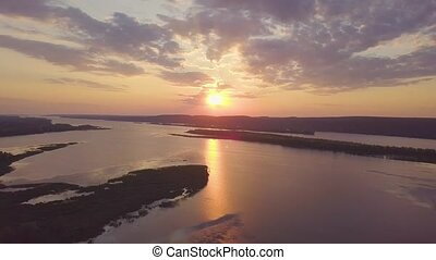 River sunset aerial