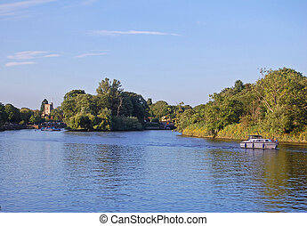 river thames - boating on the thames at twickenham