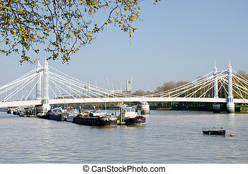 River Thames London from Chelsea Embankment with Albert ...