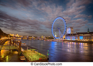 River Thames with London Eye at Night