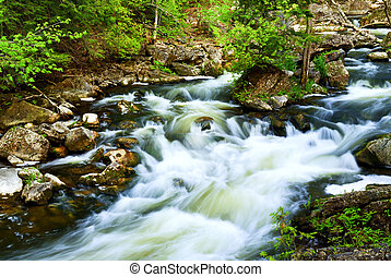 Water rushing among rocks in river rapids in Ontario Canada