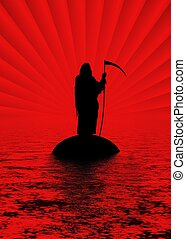 River to hell - Silhouette of the Grim Reaper standing on an...