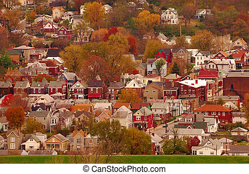 River Town USA - Aerial view of autumn in a small Kentucky ...