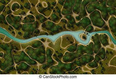 River Trail Cartoon Map as a GPS View